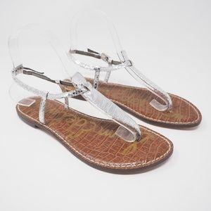Sam Edelman Gigi Thong Sandals Silver Boa Size 7